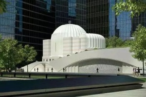 Artist's conceptual drawing of replacement church for the only house of worship destroyed in 9-11 terrorists' attacks on the WTC
